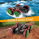 Rabing RC Car 2.4 Ghz 4WD Stunt Car 6CH Remote Control Amphibious Off Road Electric Race Double Sided Car Tank Vehicle…