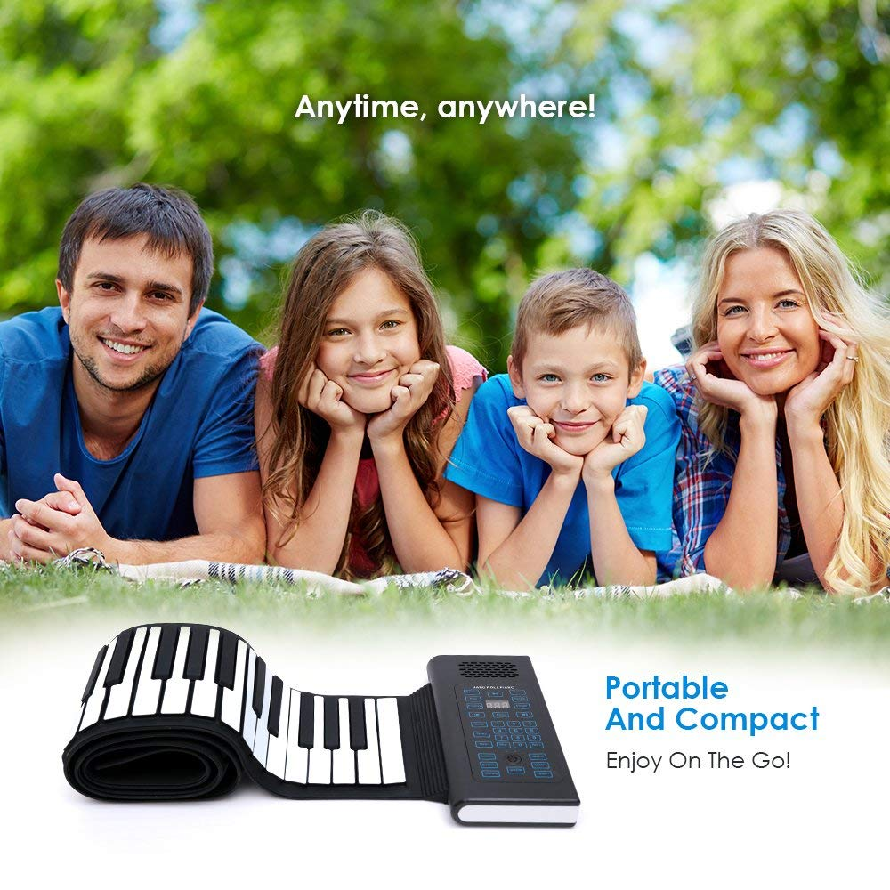 Roll Up Piano Folding Portable Keyboard   61Keys   Music Gifts for Women Men Girl Boys Kids   Educational Toys Gift Set   Digital Beginner Piano by Igloo Essentials (Image #6)