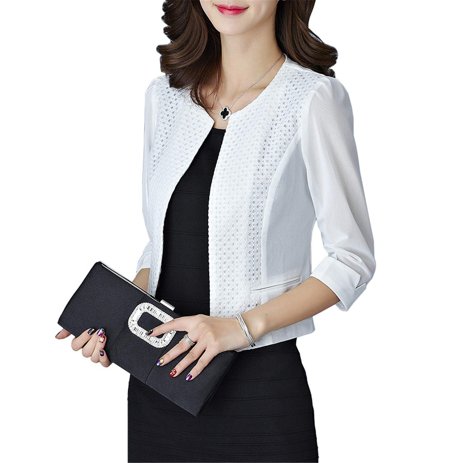Women Cardigan Short Coat Mesh Pacthwork Hollow Transparent ...