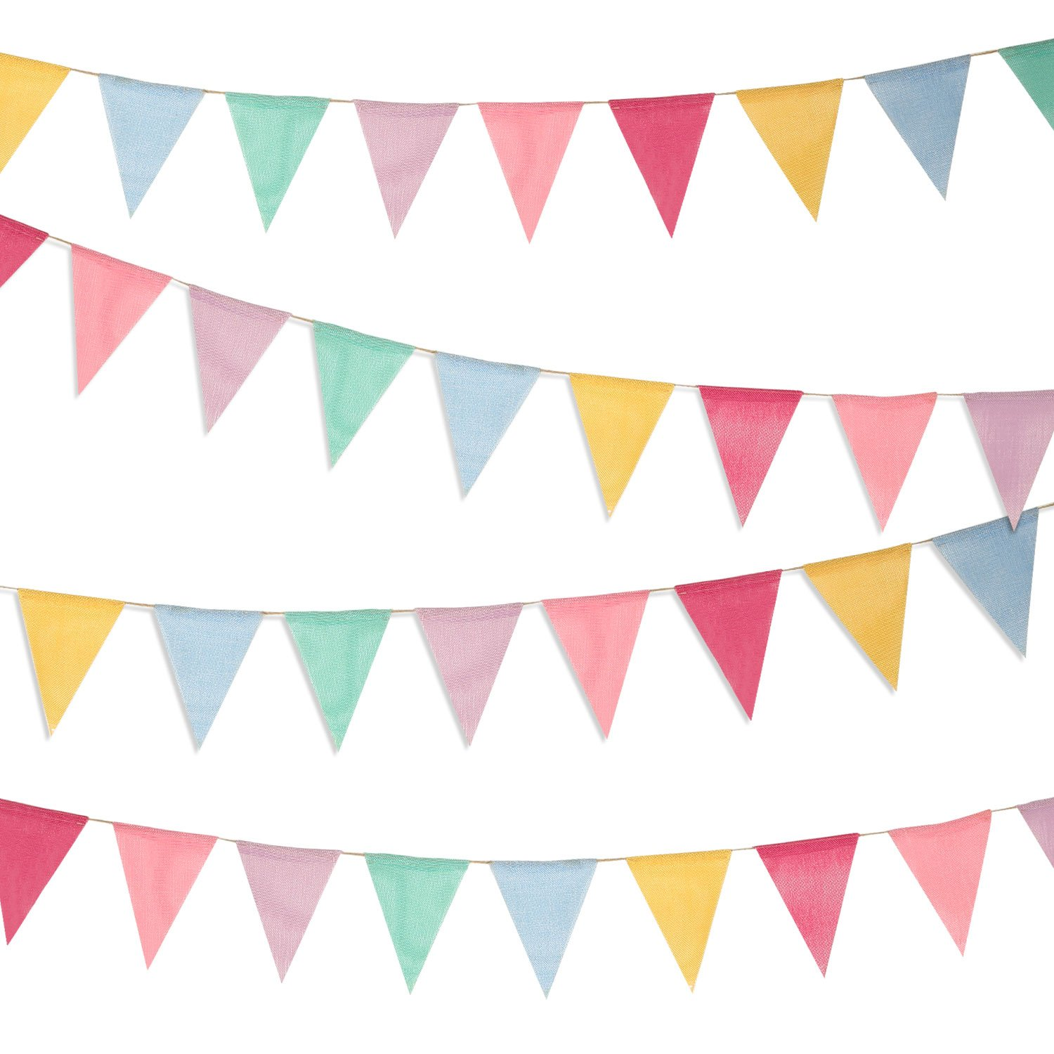 Boao 48 Pieces Colorful Pennant Banner Flags Imitated Burlap Bunting Banner for Party Decoration