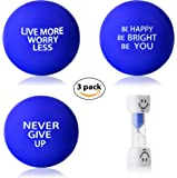 InsidersPro Stress Relief Ball Assortment | Motivational Squeeze Toys + Free Sand Timer | Hand Exerciser Balls to Relieve Tension/Joint Pain & Strengthen Grip - Great Gift Idea for Kids & Adults