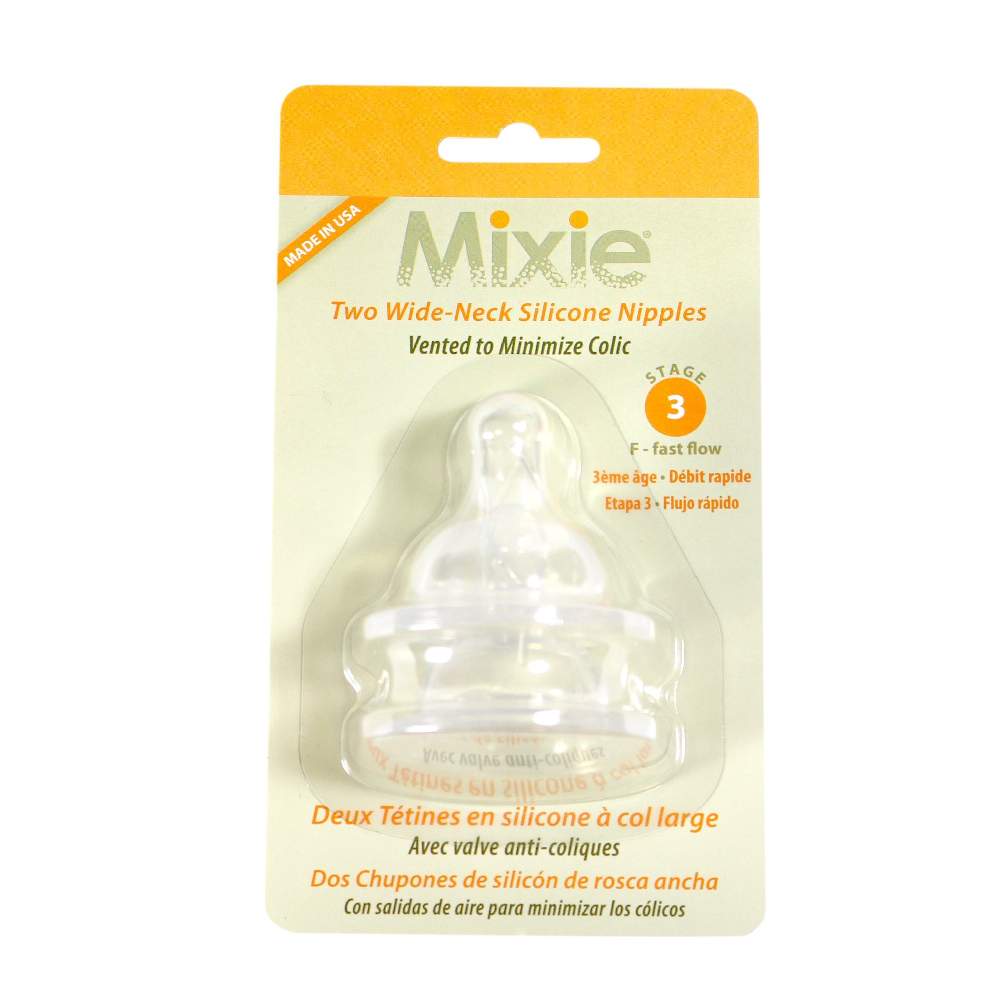Mixie Baby Bottle Replacement Nipples STAGE 3 (6 mos. and up)