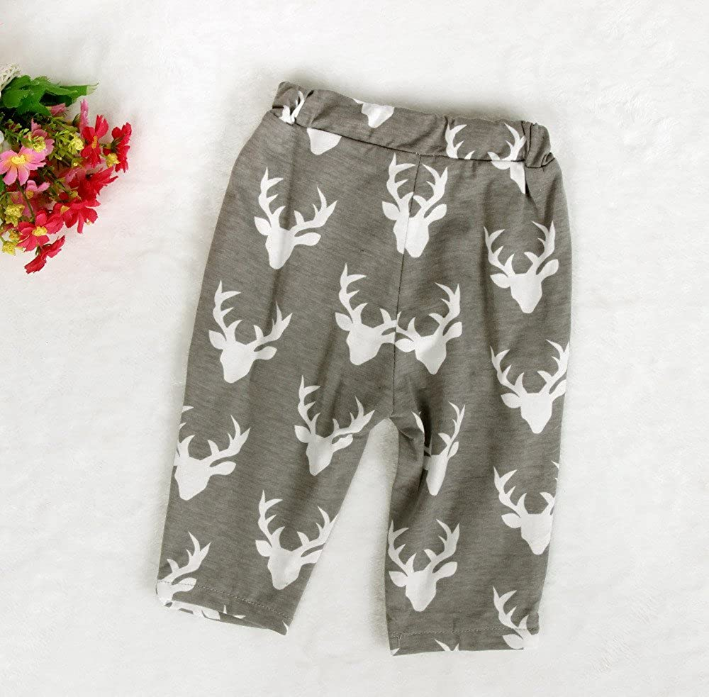 Clearance 0-18 M Boy Girl Autumn Winter Long Sleever Cartoon Deer Print T-Shirt Cute Long Pant with Warm Hat Casual Outfit
