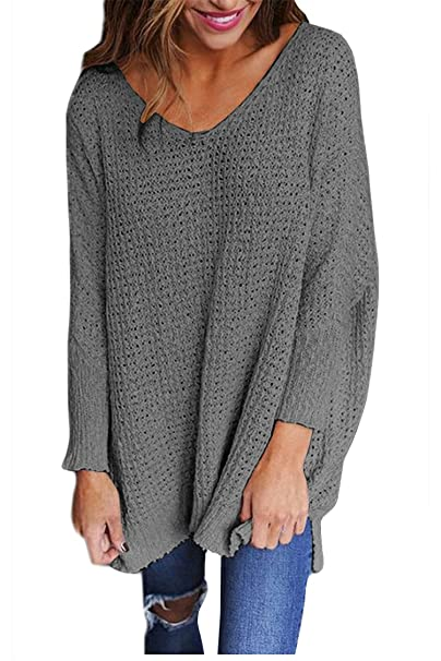 Viottis Women\u0027s Loose V,Neck Long Sleeve Pullover Knitted Sweaters Jumpers  Tops