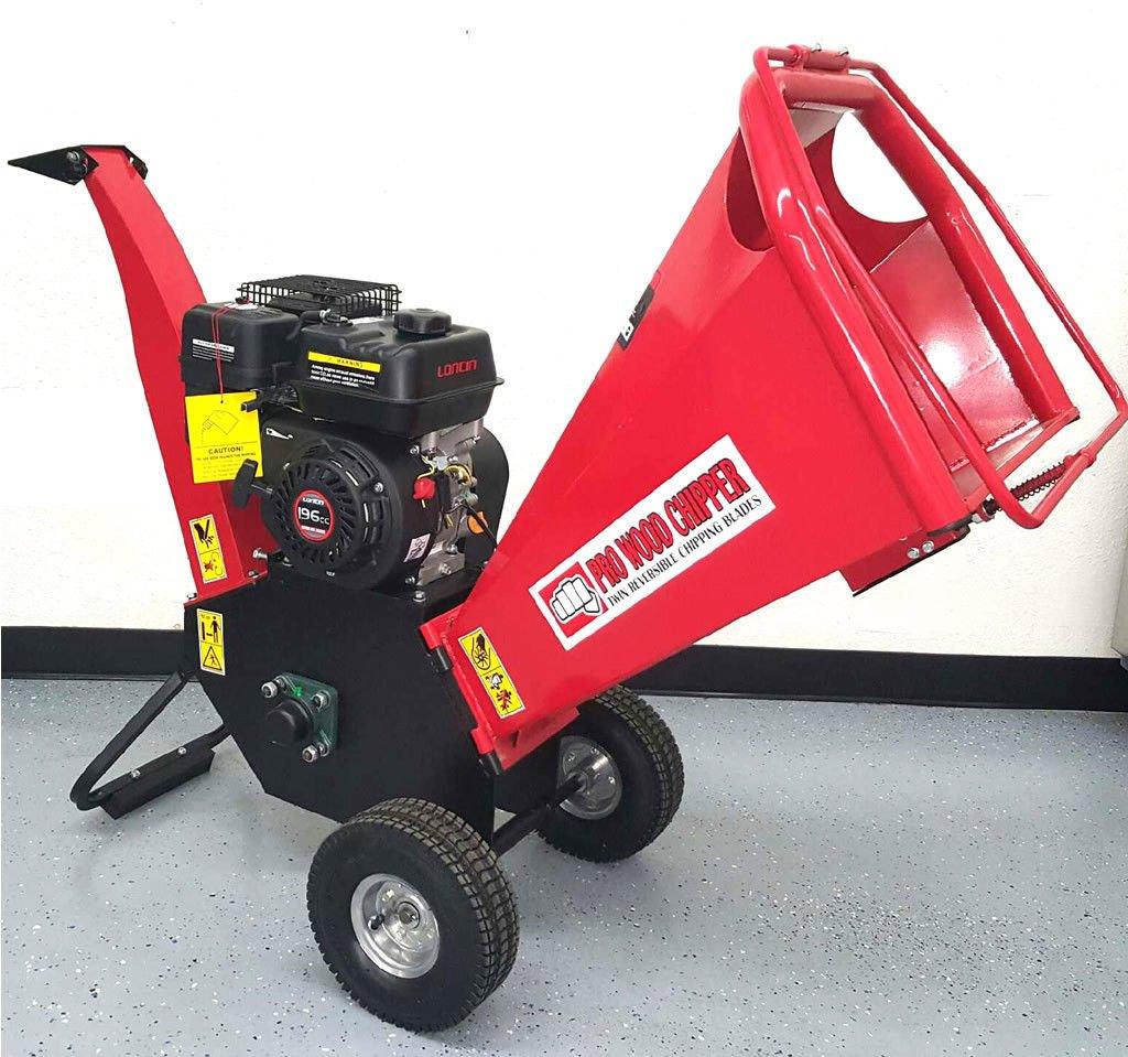 Wood Chipper Cutter Leaf Mulcher Shredder 4 Inch Capacity, 6.5HP Gas Power 4 Stroke Motor 195cc 1 Year Parts Warranty