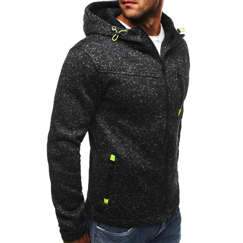 Pdbokew Mens Fleece Hoodies Solid Sweatshirts Zipper Cardigan Sportswear