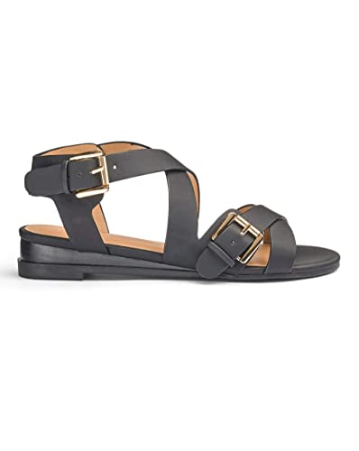 50e714b7f2f1 Simply Be Womens Sole Diva Buckle Sandal EEE Fit Black