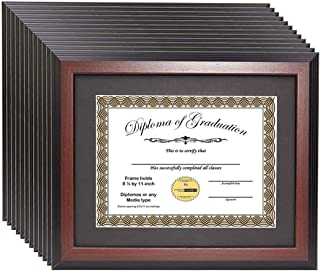 product image for flag connections [11x14mh-b] Mahogany Diploma Frame Holds 8.5 by 11 with or 11x14 Without Mat, Graduation Documents Include Stand and Wall Hangers (12-Pack)