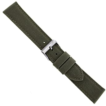 61917dda2df Image Unavailable. Image not available for. Color  20mm Morellato Padded  Stitched Genuine Cordura Canvas Army Green Watch Band