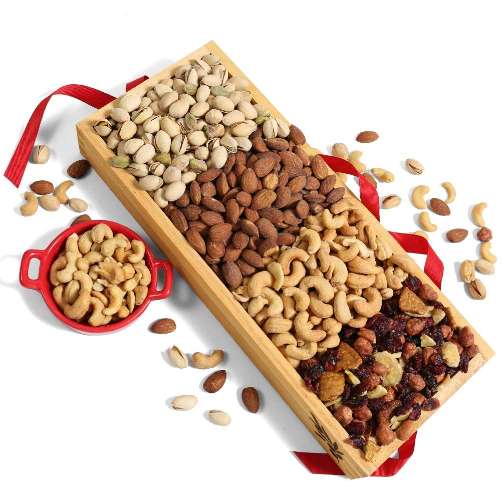 Roasted Nuts & Dried Fruit Trail Mix Wooden Gift Crate - Healthy Gift for Birthdays, Holidays, Sympathy, Get Well, and Congratulations