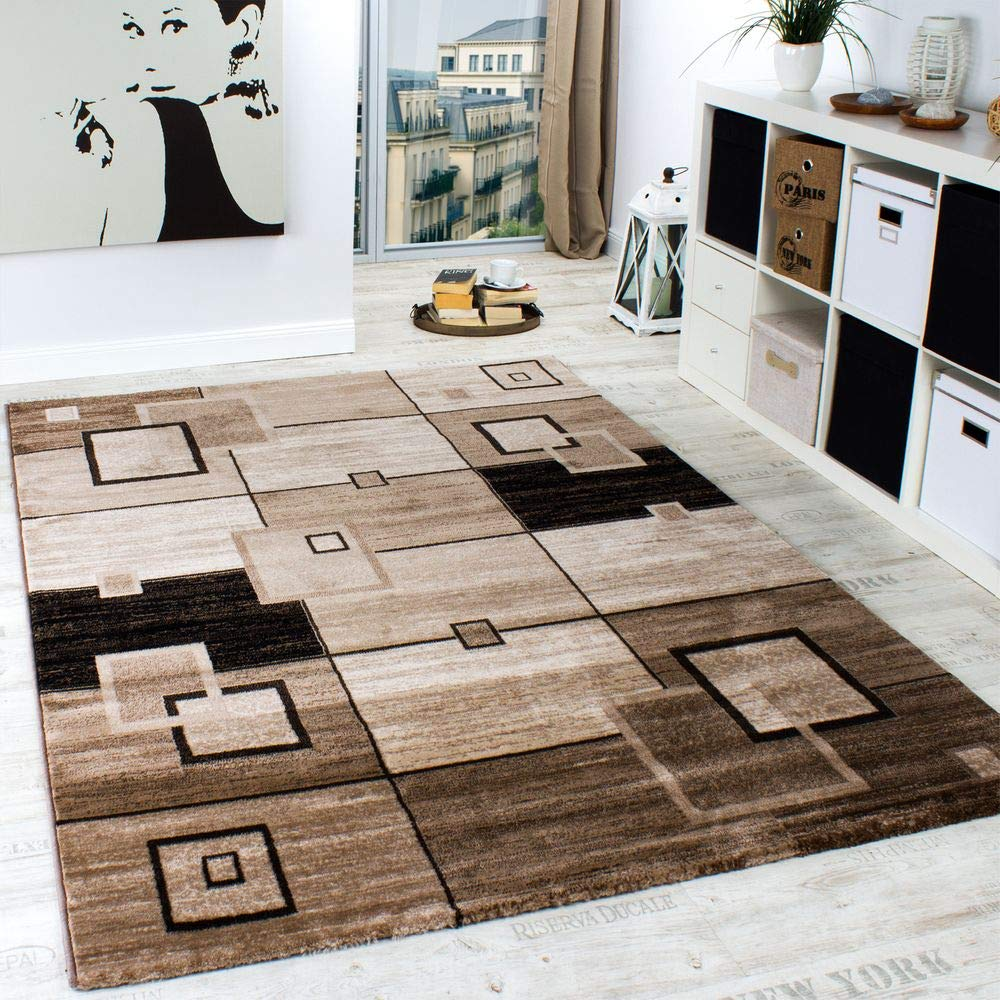 Modern Living Room Rug Brown And Beige Mottled Checked Design Short Pile