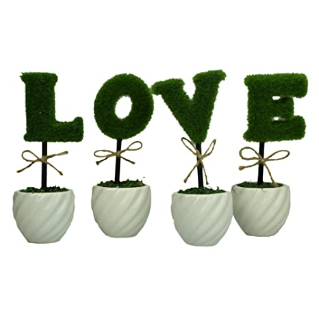 Archi amor decoración verde artificial de cobertura de cerámica color blanco planta Set/juego de