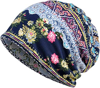 Womens Cotton Bonnet Ethnic Outdoor Hats //Scarf Use Stripe Casual Beanie Hat