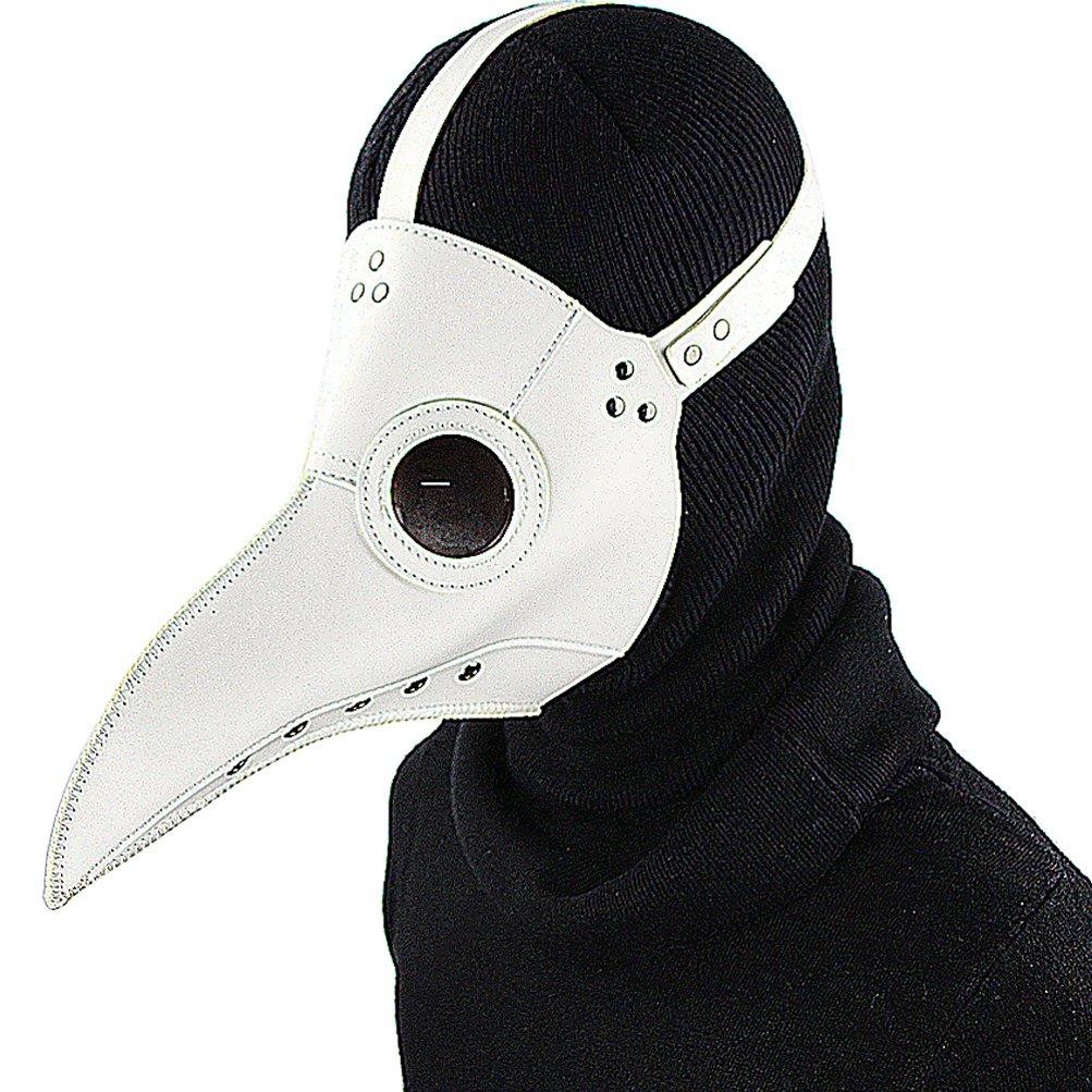 PU Leder Mask Plague Doctor Mask Halloween Props Leder Mask Costume Plague Bird Doctor Nose Cosplay Mask for Adult-Weiß