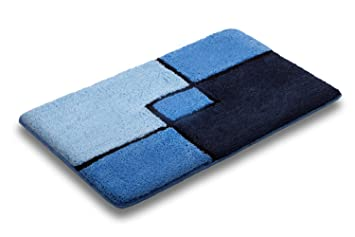 Navy Royal Blue Square Bathroom Bath Mat Rug Non Slip Skid Resistant Luxury  Long Pile