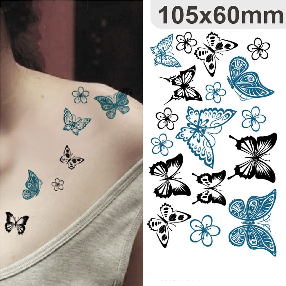 SpringPear® 6x Etiqueta Engomada Hermosa Temporal del Tatuaje para Todos los Días Ocio Alas Mariposas Constelación Diamantes Torre Eiffel Tatuaje Resistente ...