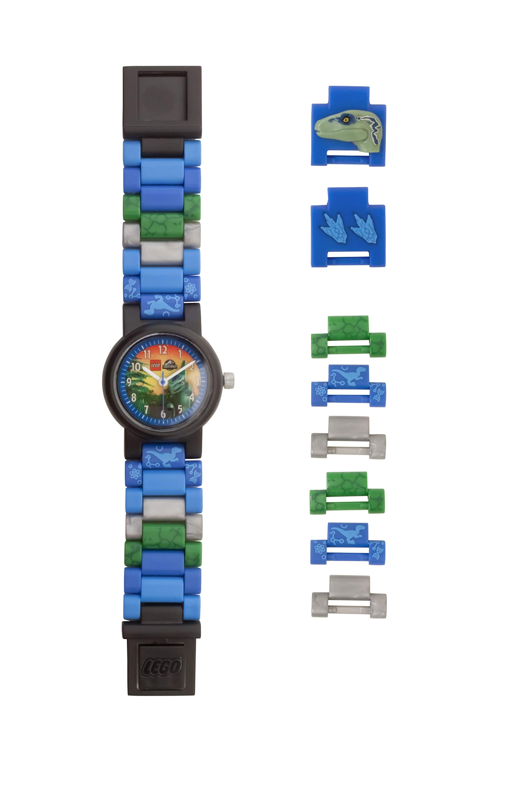 Lego Jurassic World 8021285 Blue Kids Buildable Watch with Minifigure Link| Blue/Black | Plastic | 25mm case Diameter| Analog Quartz | boy Girl | Official by ClicTime