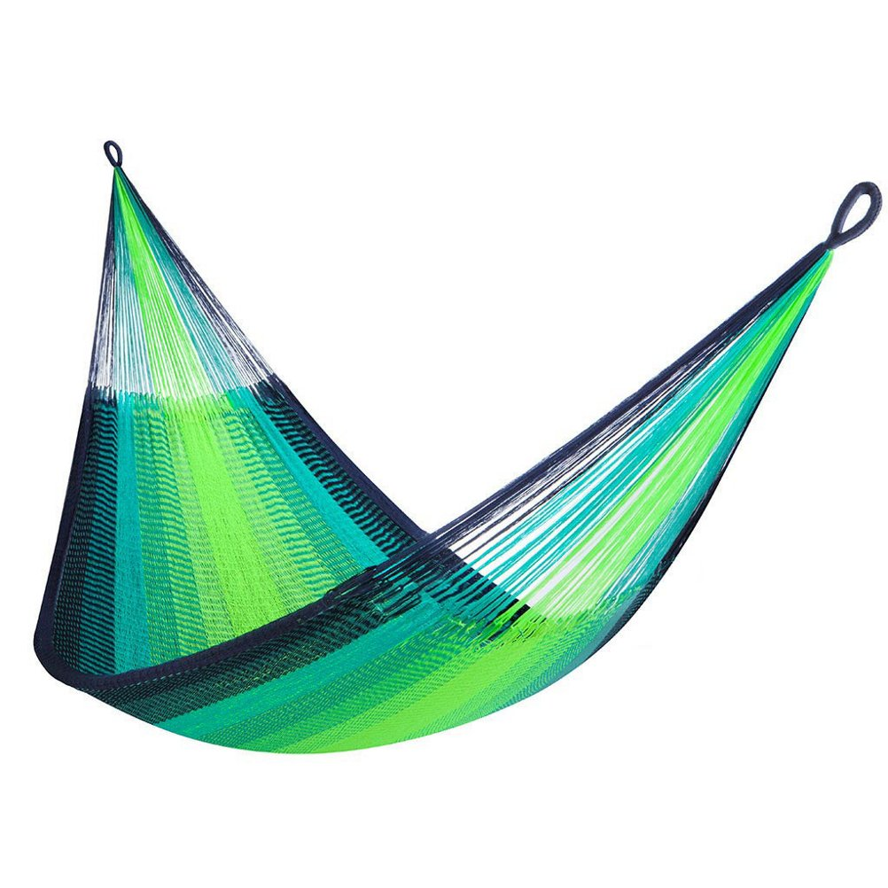 Yellow Leaf Hammocks YL-CD-SL St. Lucia Classic Double Hammock, Tennis Yellow, Persian Turquoise, Navy Blue by Yellow Leaf Hammocks