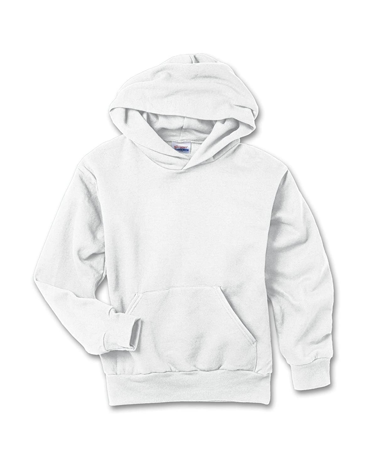 L Hanes Youth 7.8 oz White ComfortBlend 50//50 Pullover Hood
