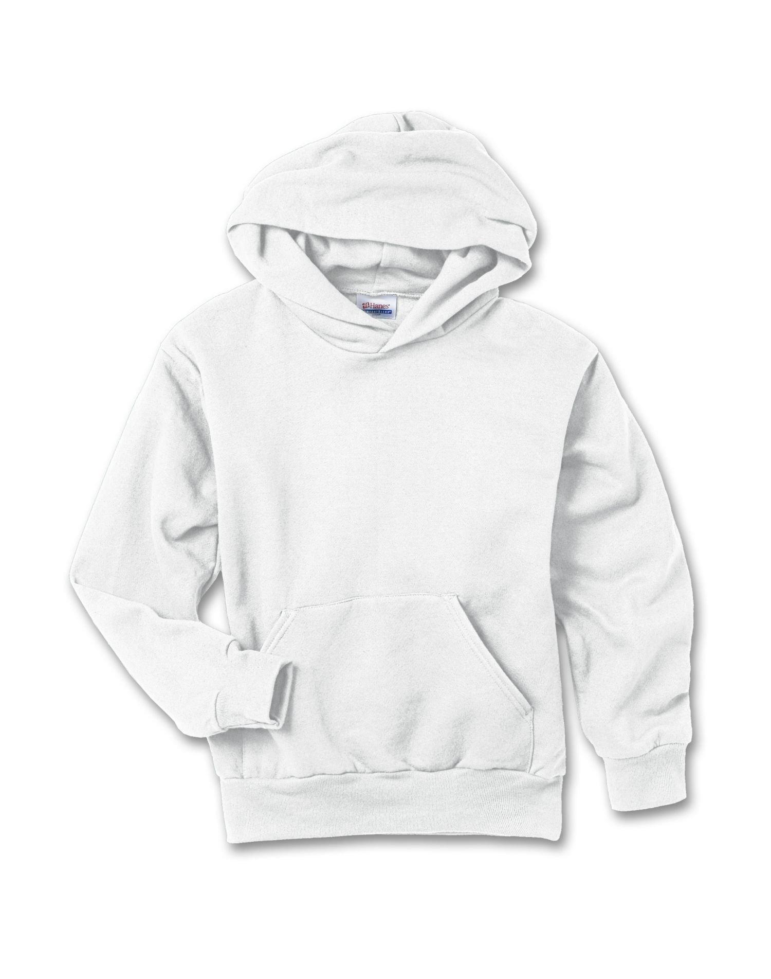 Hanes 7.8 oz Youth COMFORTBLEND EcoSmart Fleece Pullover Hood, White, Medium