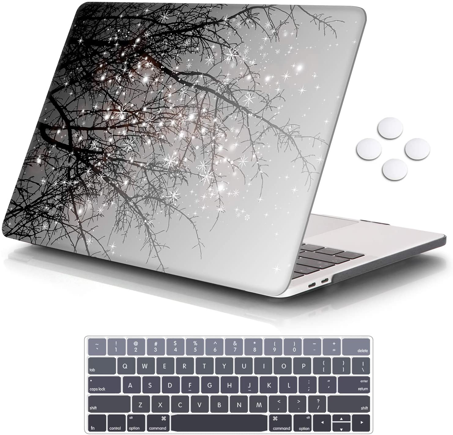 "iCasso MacBook Pro 13 inch Case 2019 2018 2017 2016 Release A2159/A1989/A1706/A1708, Plastic Hard Shell Case with 5 Rows Keyboard Cover Compatible with Newest MacBook Pro 13"" - Gray Tree"