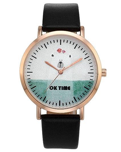 jsdde Relojes, Fashion Cute Dibujos Animados Oso Reloj de Pulsera Cuarzo Agua Densidad Reloj Mujer Piel sintética Reloj Banda Reloj de Cuarzo, ...