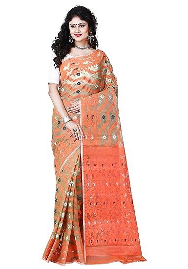 bacb3f0175f95 RLB Fashion Women s Cotton Silk Handloom Dhakai Jamdani Saree (Orange)   Amazon.in  Clothing   Accessories
