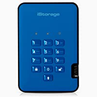 iStorage diskAshur2 HDD 2TB Blue - Secure portable hard drive - Password protected, dust and water resistant, portable…