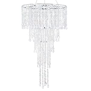 FlavorThings Diamante Duo Delight Large Event Chandelier,Multi Shaped Diamond Cut Beaded Faux Crystal Large Combo Chandelier-Wedding Chandelier,5 Tiered 24 inch Diam