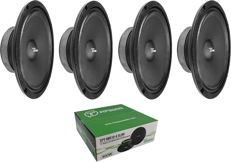 "4 x Timpano MR10-4 Slim 10"" Mid Range 1600W Speaker Car Audio 4 Ohm"