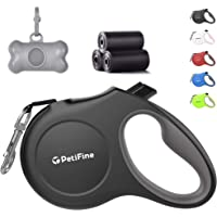 PetiFine Retractable Dog Leash with Dispenser and Poop Bags, 16ft Heavy Duty Reflective Walking Pet Leash for X-Small/Small/Medium/Large Breed Dogs or Cats up to 110 lbs, Tangle-Free