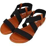 Sibba Women's Elastic Flat Sandals Summer Walking Shoes