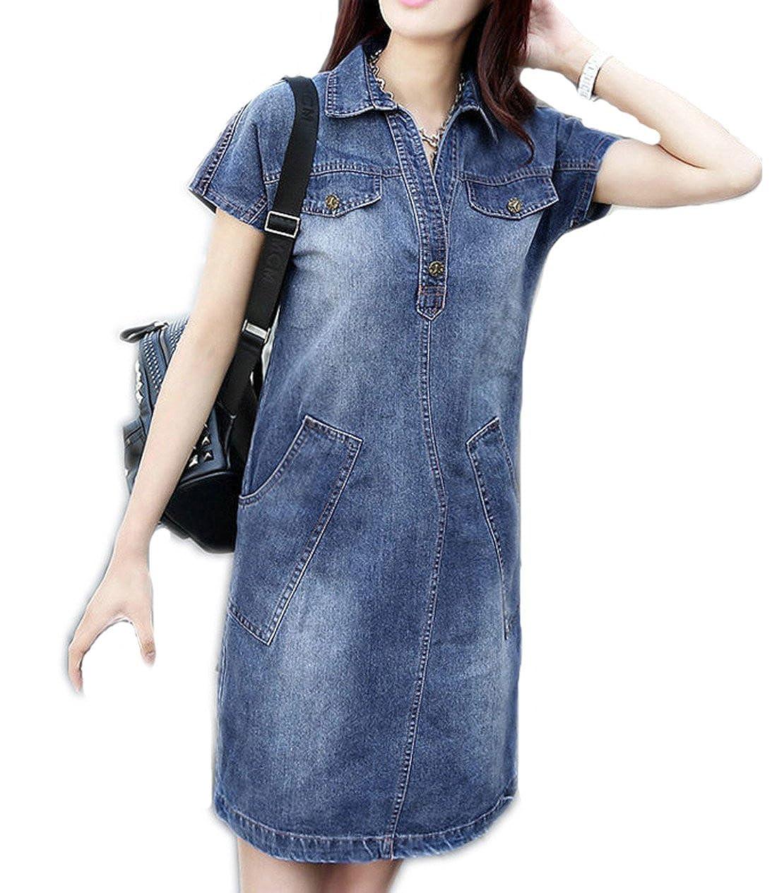 Women\'s Summer Denim Lapel Popover Shirt Dress Plus Size Casual Loose Jeans  Dresses with Pockets