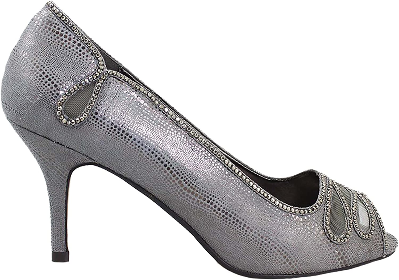 FLR524 Francie Wide Fit Gemstone Metallic Faux Leather Low Heels Clutch Bag
