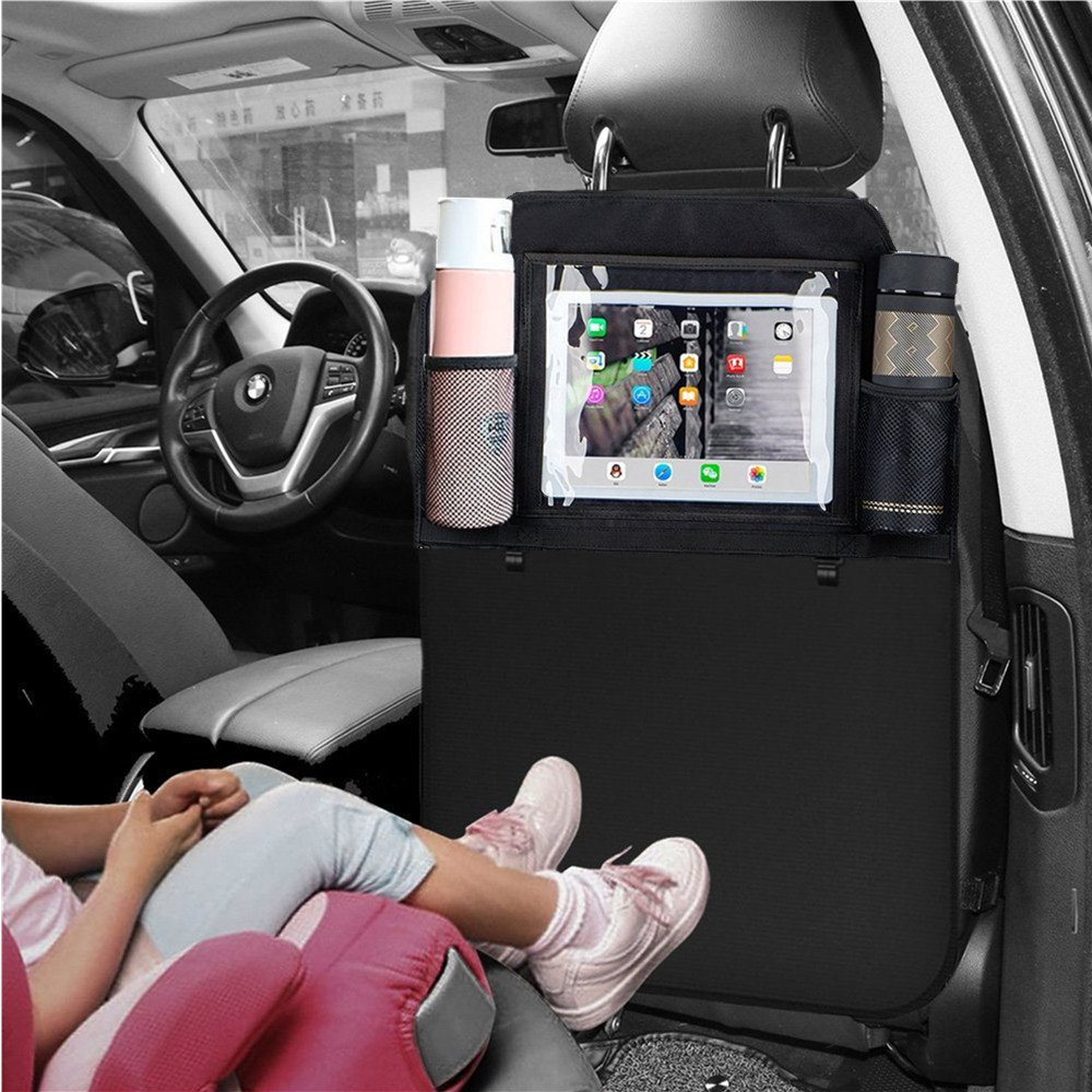 Fincy Palmoo 2pcs Car Organizers Kick Mat, Waterproof Multi-Pocket Seat Back Covers Protectors for 10.5 iPad/Tablet, Bottles,Kids Toy Storage and Travel Accessories