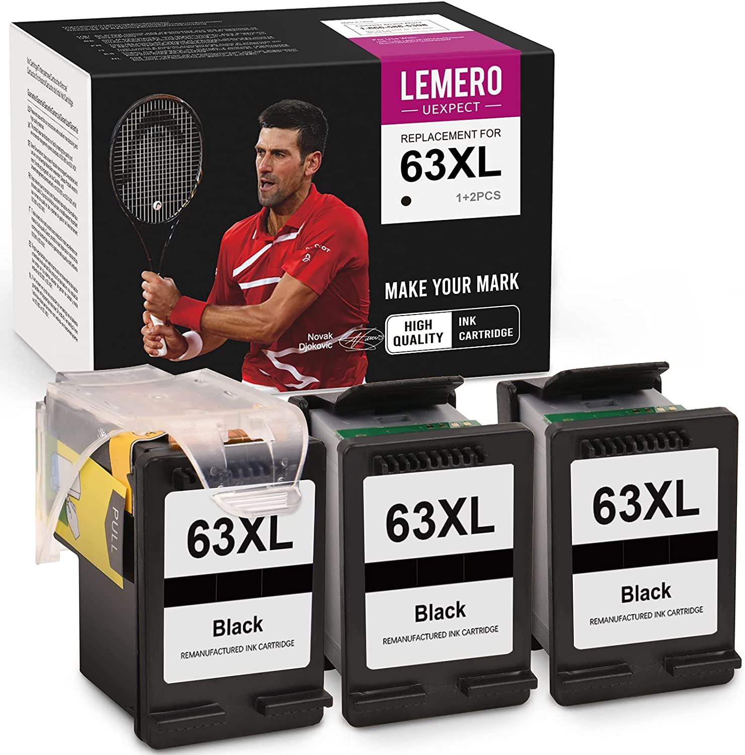 LemeroUexpect Remanufactured Ink Cartridge Replacement for HP 63XL 63 XL for OfficeJet 5258 5255 4650 3830 4655 4652 3634 Envy 4520 Deskjet 1112 3636 Printer (1 Print Head, 3 Black Inkwell)