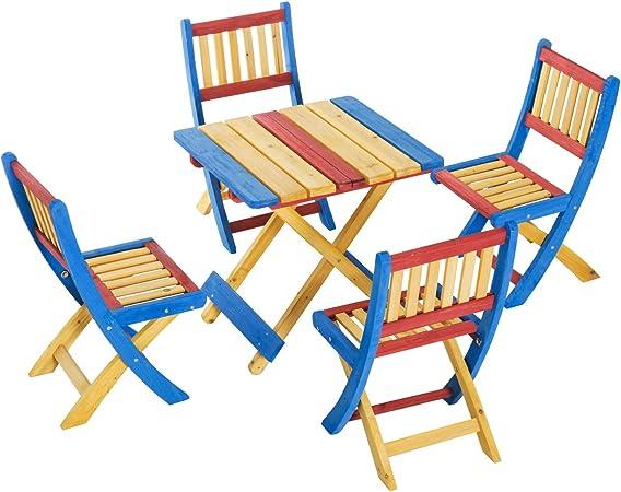 Sedie Da Esterno Colorate.Godyluck Tavolo Sedie Da Giardino Set Tavolino Per Bambini Con 4