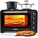 Geepas 35L Mini Oven & Grill with Double Hotplate   1600W & 60 Minutes Timer   Rotisserie Function & 6 Selectors for Baking & Grilling   5 Accessories Included & Convection Function – 2 Years Warranty