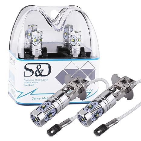 S&D Bombillas LED H3 de alta potencia para faro antiniebla de coche y conducció