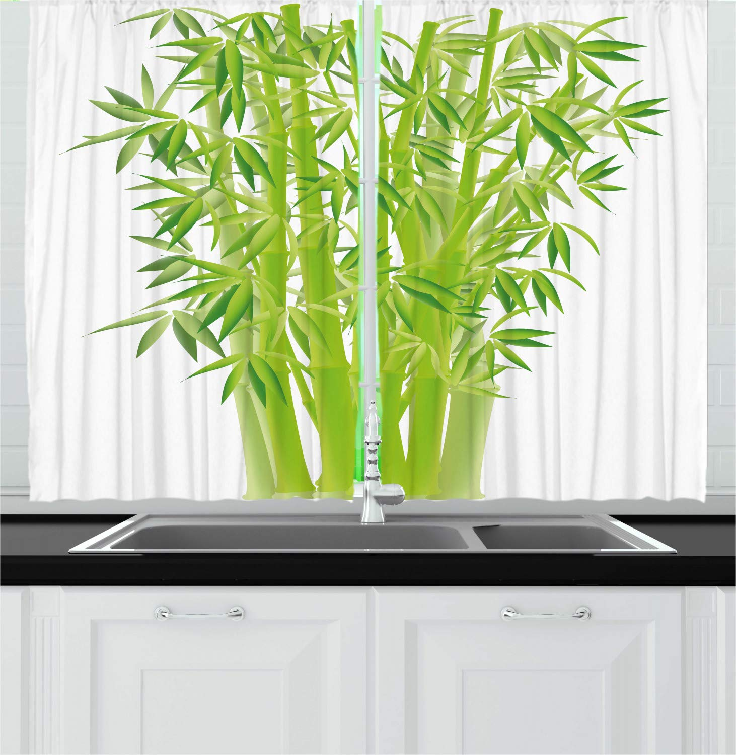 Ambesonne Exotic Kitchen Curtains, Bamboo Stems with Leaves Ancient Fresh Bunch Tropical Plant Eco Foliage Print, Window Drapes 2 Panel Set for Kitchen Cafe, 55 W X 39 L Inches, Lime Green