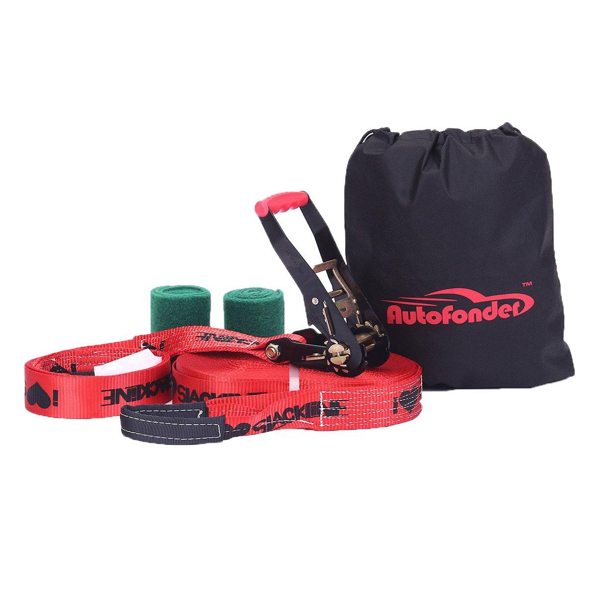Autofonder Slackline Slack Line Kit-Strong Ratchet with Grip Tree Protectors Carry Bag and Instruction Booklet Complete 50ft Slack Line Set Easy to Set Up