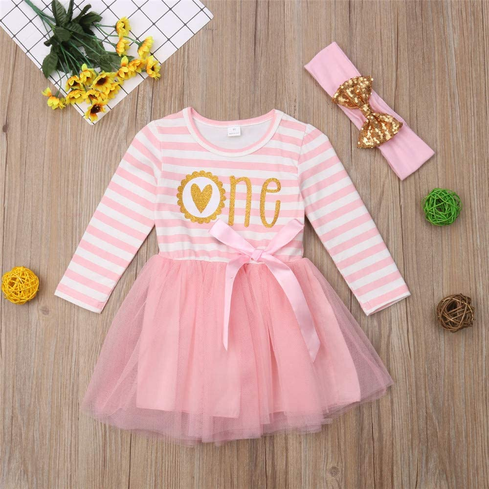 Newborn Baby Girl 1st Birthday Dress One Print Striped Top Tulle Dress Tutu Outfits Clothes with Headband