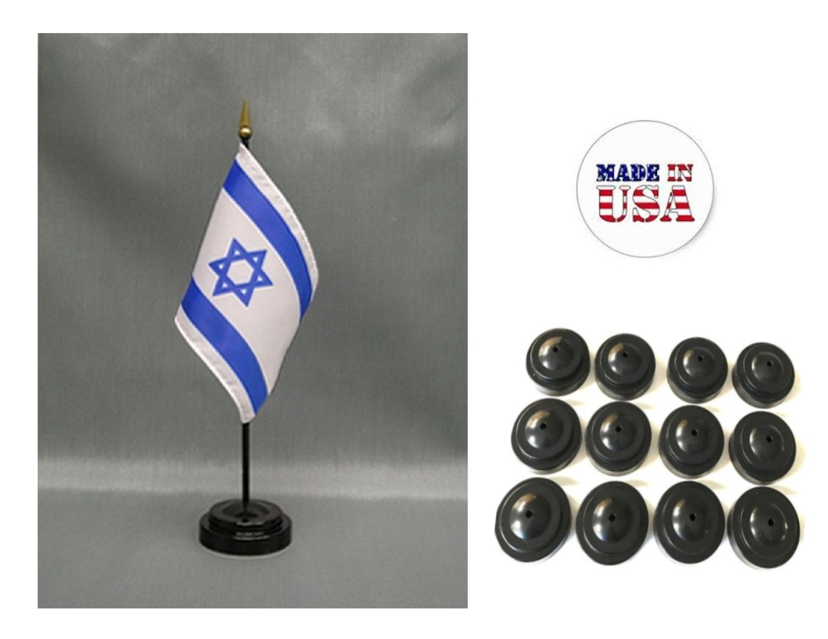Made in the USA!! Box of 12 Israel 4''x6'' Miniature Desk & Table Flags Includes 12 Flag Stands & 12 Israeli Small Mini Stick Flags
