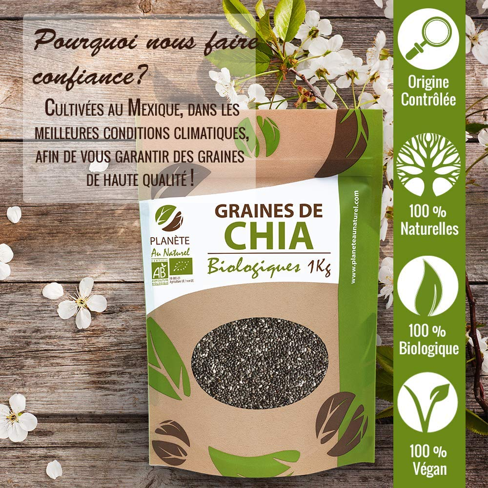 Semillas orgánicas de chía (Salvia Hispanica) - 1 kg: Amazon.es: Salud y cuidado personal