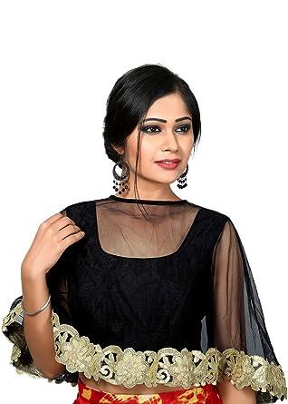 b14ab39433e6f Amazon.com  Black Dupion Silk Cape Style Indian Blouse  Clothing