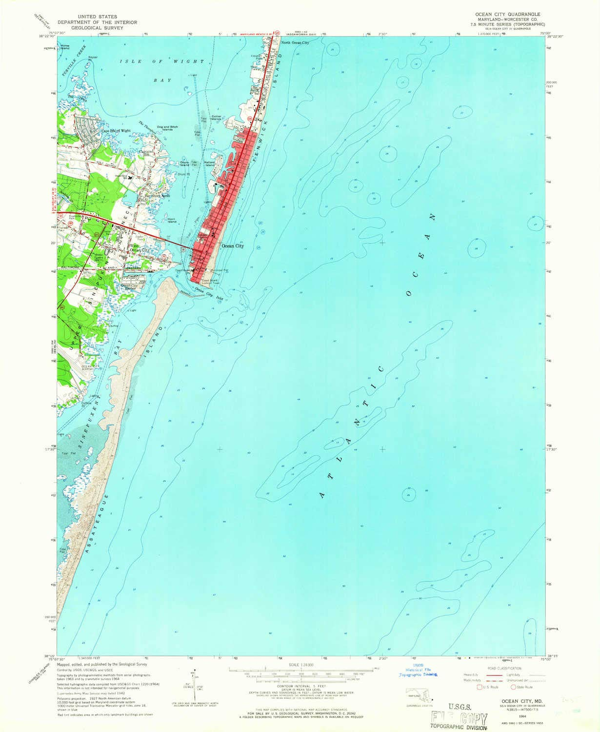 Amazon Com Yellowmaps Ocean City Md Topo Map 1 24000 Scale 7 5 X