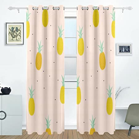 Aideess hawaiian tropical pineapple fruit curtain panels insulated curtains blackout drapes thermal curtains for kids room