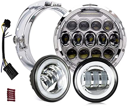 Plug and Play 4.5 Passing Light Black-Finish Head Light for Harley Davidson Electra Glide Road King Softail HALO DRL Mounting Bracket 7 CREE LED Harley Headlight
