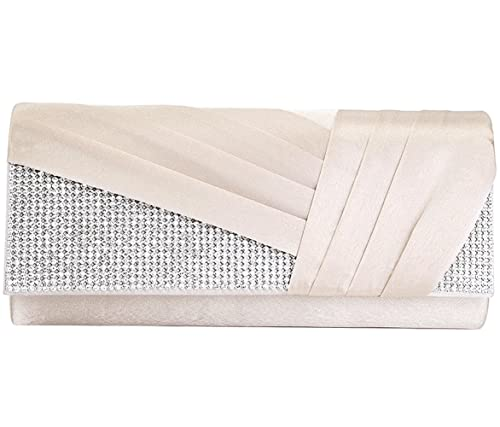 98273364b29 Jubileens Womens Elegant Pleated Satin Crystal Fashion Clutch Evening Bag  Purse (champagne)