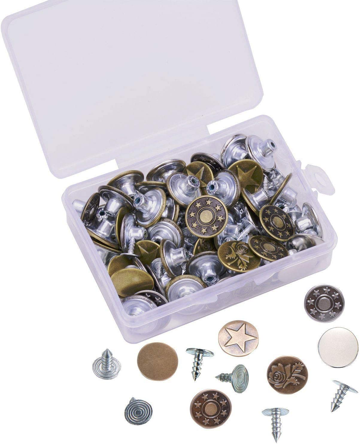 40 Set Metal Denim Jeans Tack Snap Stars Buttons Rivets Repair Replacement Box